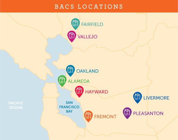 BACS locations map