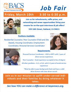 Mark your calendars! BACS is hosting a job fair on March 10th